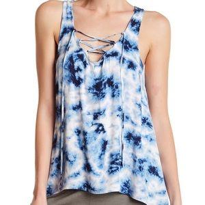 PJ SALVAGE - Lace-Up Tie-Dye Tank Top- NWT